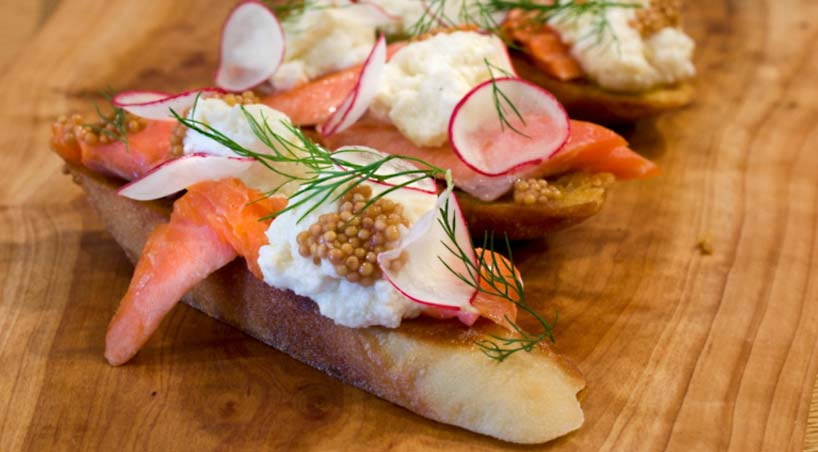 Sizzling Smoked Trout with Ricotta Crostini