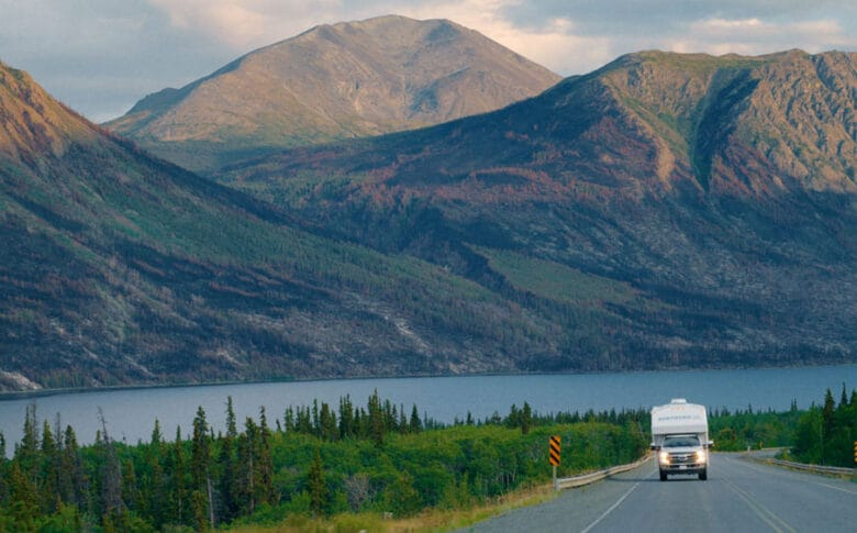driving through the mountains in an RV