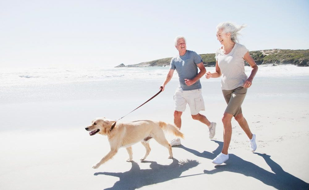 retired couple running on the beach with dog
