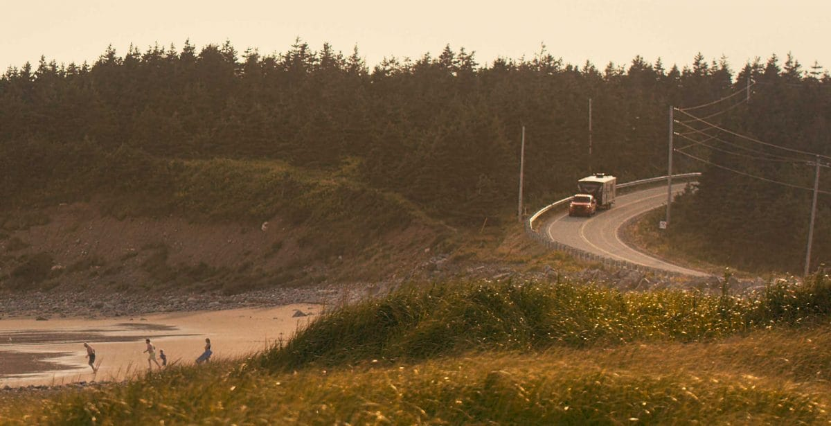 RV Trailer on road