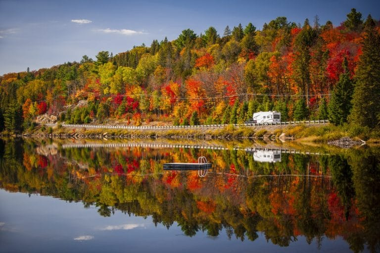 RV driving around Fall Landscape