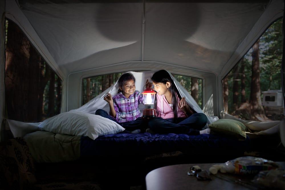kids in tent trailer