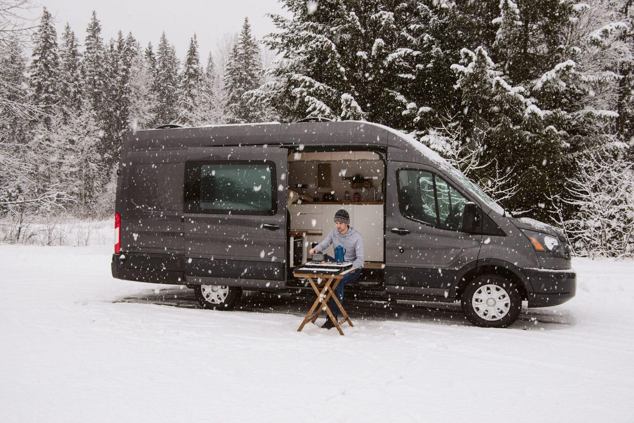camper vans in the winter