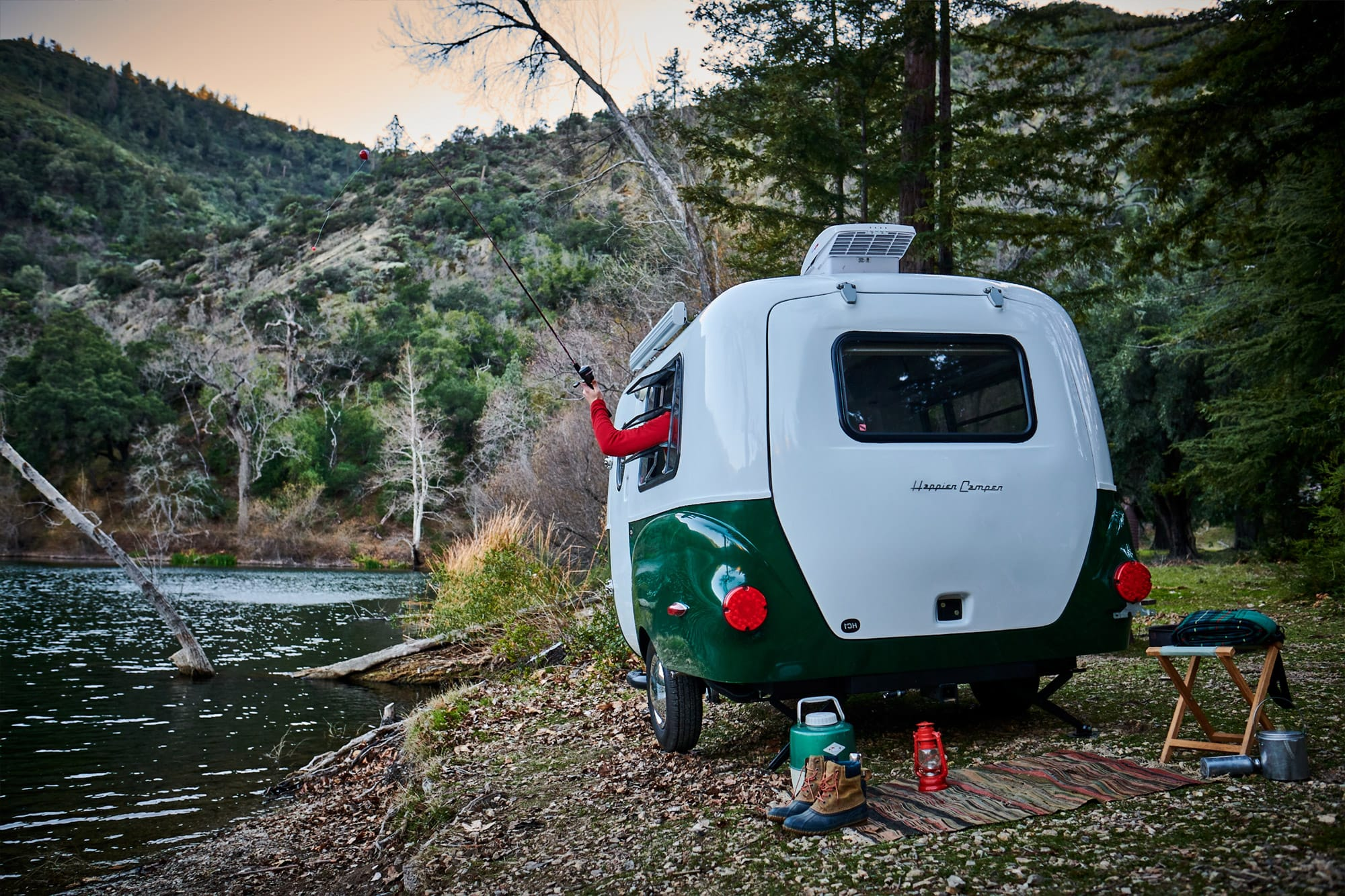 RV camping by river