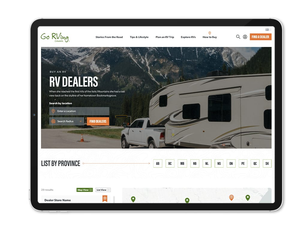 rv dealers search page