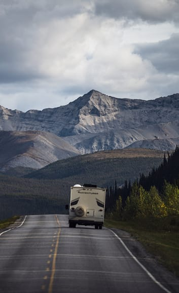 RV Driving into the mountains