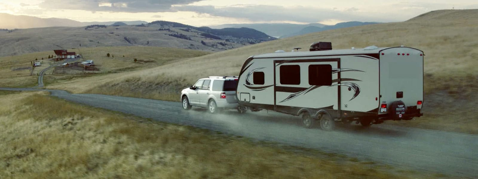 travel trailer on the road