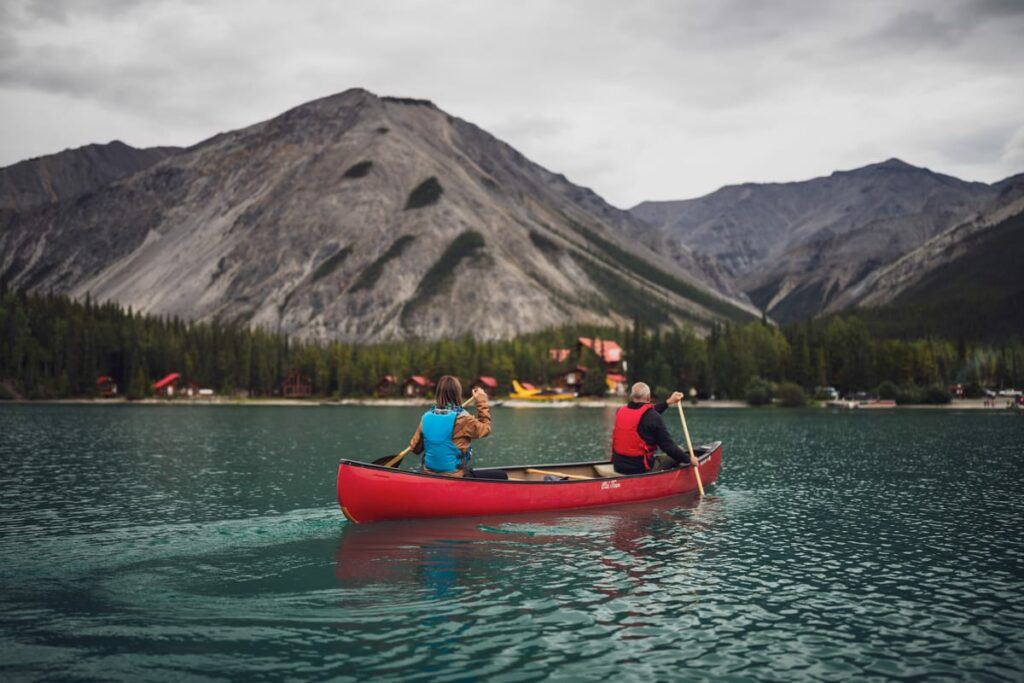canoeing with a mountain view
